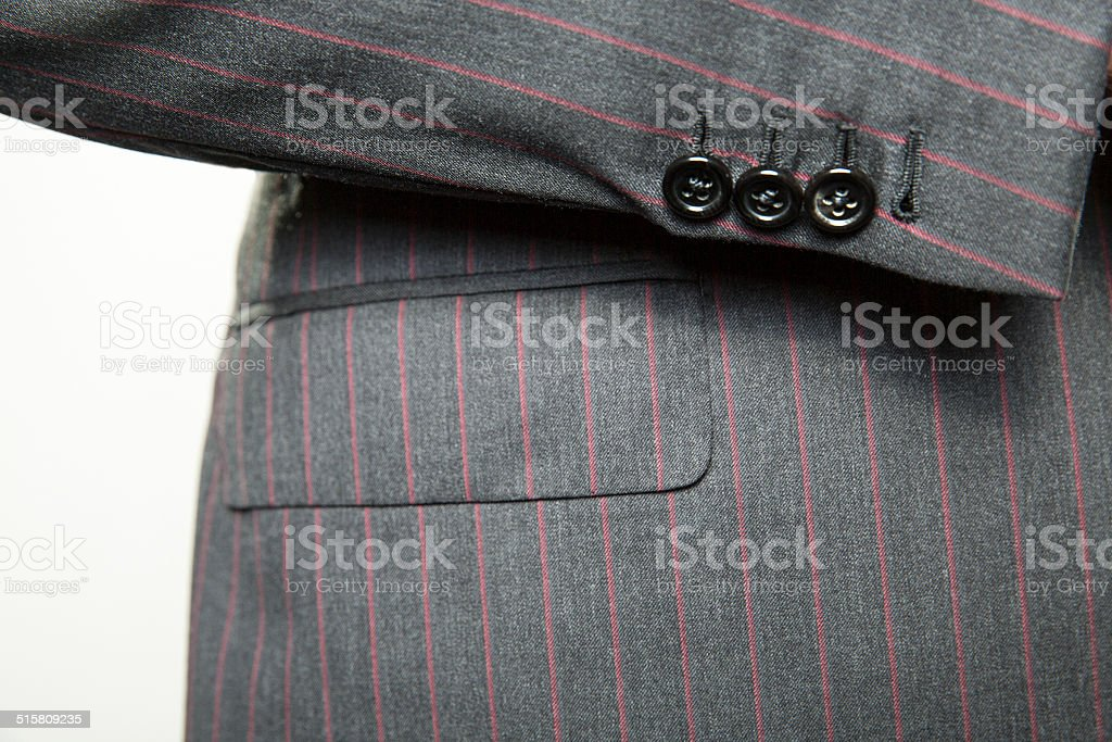 Men's Suit Cuff and pocket on white background stock photo