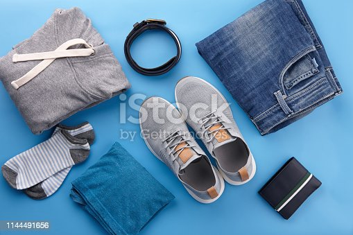 917262406istockphoto Mens summer casual clothes flat lay 1144491656