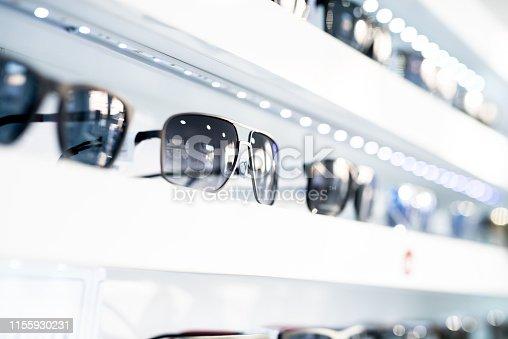 Men's sunglasses in a store.