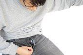 istock Men's trouser zipper is open 1319401563
