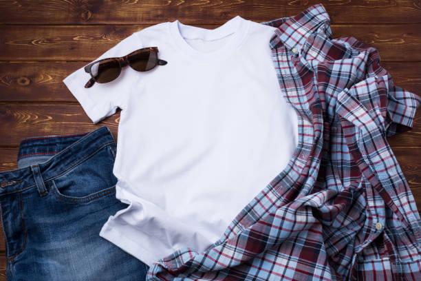 Men's T-shirt mockup with checkered shirt stock photo