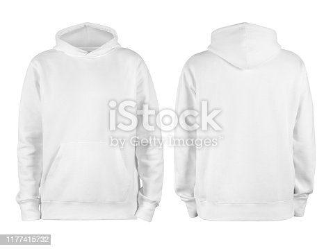 Men's white blank hoodie template,from two sides, natural shape on invisible mannequin, for your design mockup for print, isolated on white background