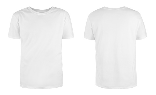 Men's white blank T-shirt template,from two sides, natural shape on invisible mannequin, for your design mockup for print, isolated on white background.