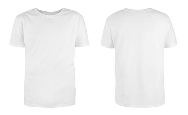 men's white blank t-shirt template,from two sides, natural shape on invisible mannequin, for your design mockup for print, isolated on white background. - bianco foto e immagini stock