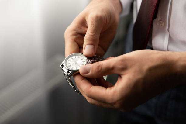 Men's wrist watch, time for business stock photo