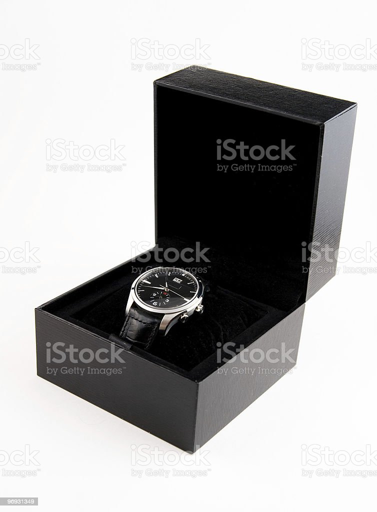 Men's wristwatch in black case royalty-free stock photo