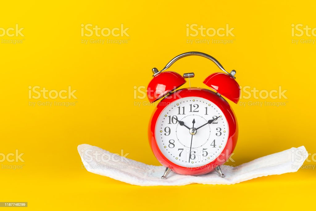 Menstrual pads and clocks. Menstruation period pain protection....
