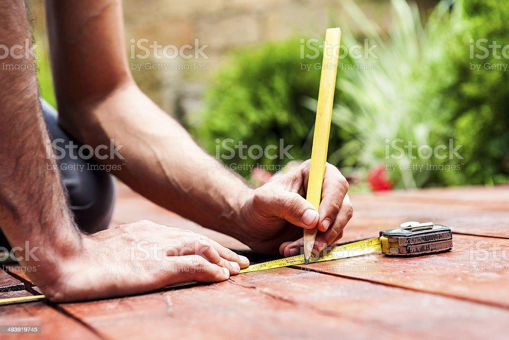 Mensuring and drawing closeup shot stock photo
