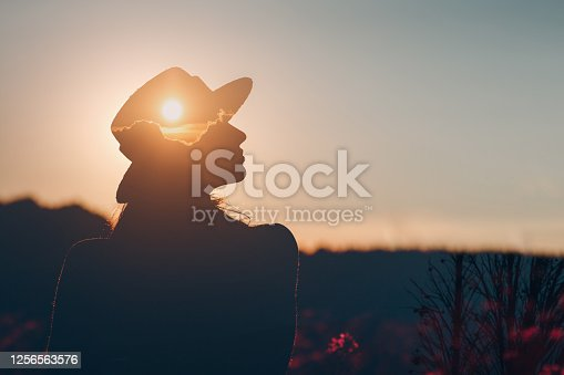 Mental health and business. Silhouette of young adult businesswoman.