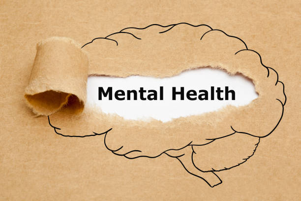 Mental Health Brain Torn Paper Concept Text Mental Health appearing behind torn brown paper with drawn human brain on it. mental health stock pictures, royalty-free photos & images