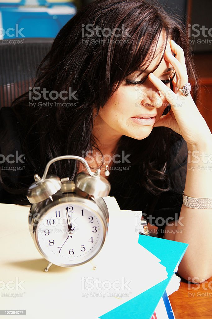 Mental Health Facial Expression Caucasian Female Depressed at Work royalty-free stock photo