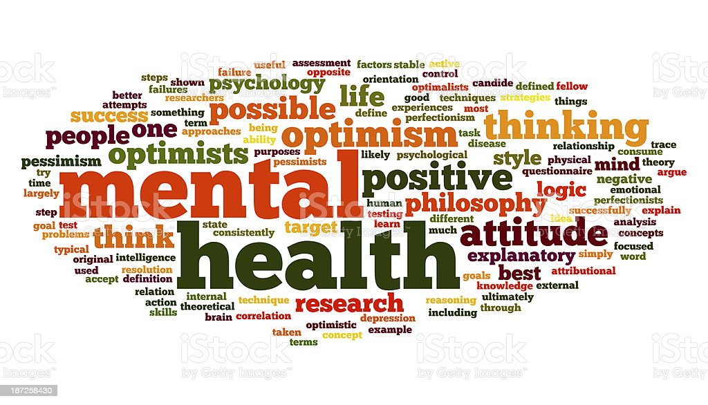 Mental health in word tag cloud stock photo