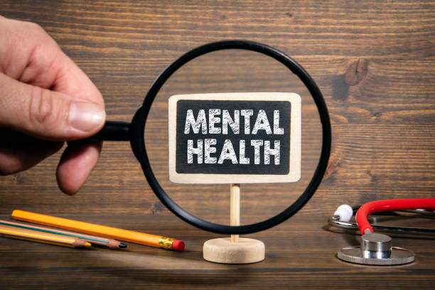 Mental Health. Stress, tension, relationships and work environment concept stock photo