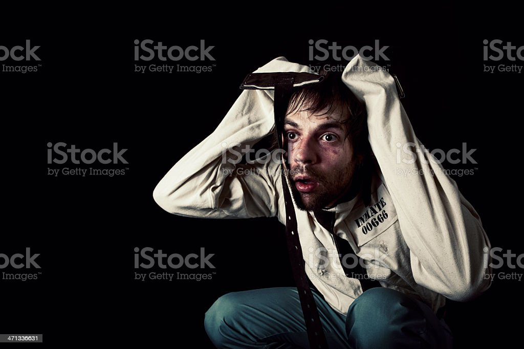 Mental Patient in Straightjacket royalty-free stock photo
