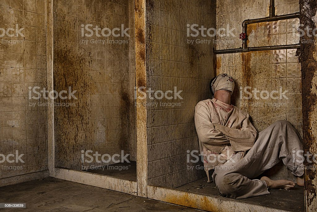 Mental Patient in the Shower Mental Patient in the Shower Blood Stock Photo