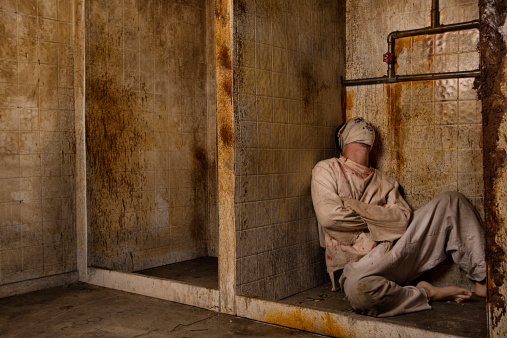 Mental Patient In The Shower Stock Photo - Download Image Now