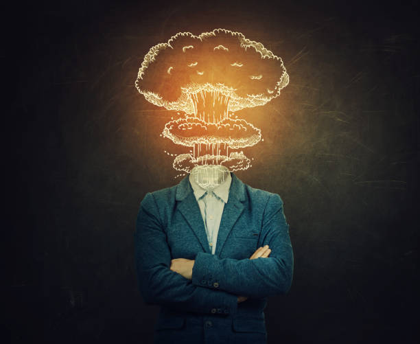 Mental state problems Surreal image nervous man with crossed hands head explosion over blackboard background as nuclear mushroom sketch. Mental state problems, business failure concept. Schizophrenia psychiatric disease. mental burnout stock pictures, royalty-free photos & images