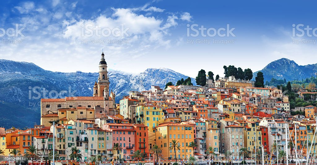 Menton , border France- Italy stock photo