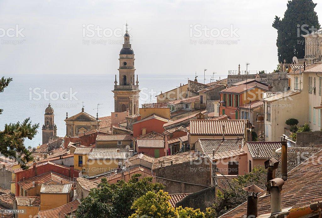 Menton city against background of the Mediterranean sea stock photo