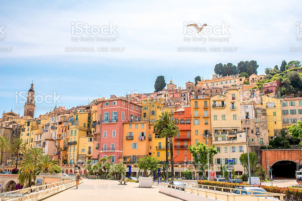 Menton city in France stock photo