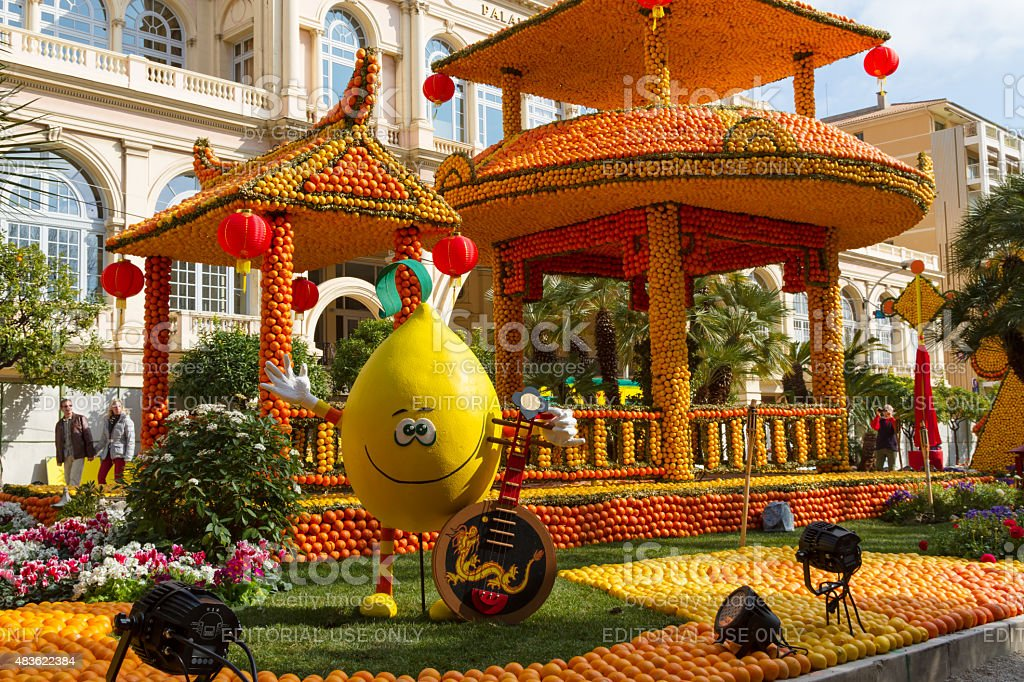 Menton, France. Lemon Festival (Fete du Citron). stock photo
