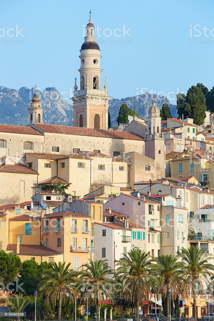 Menton, old town houses in the morning, French riviera stock photo