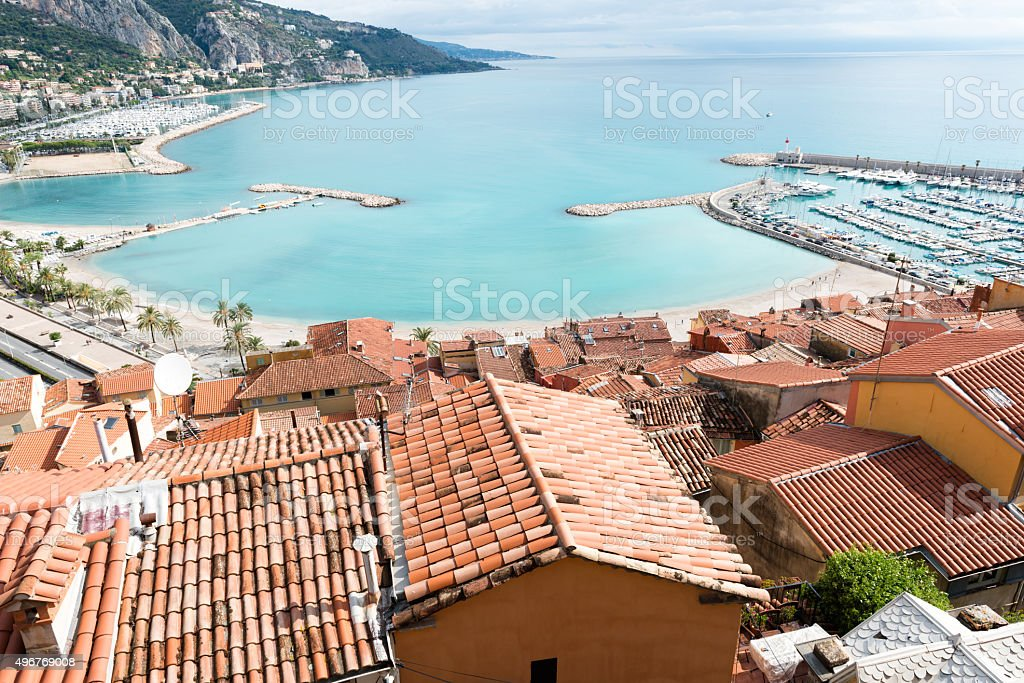 Menton town in south France stock photo