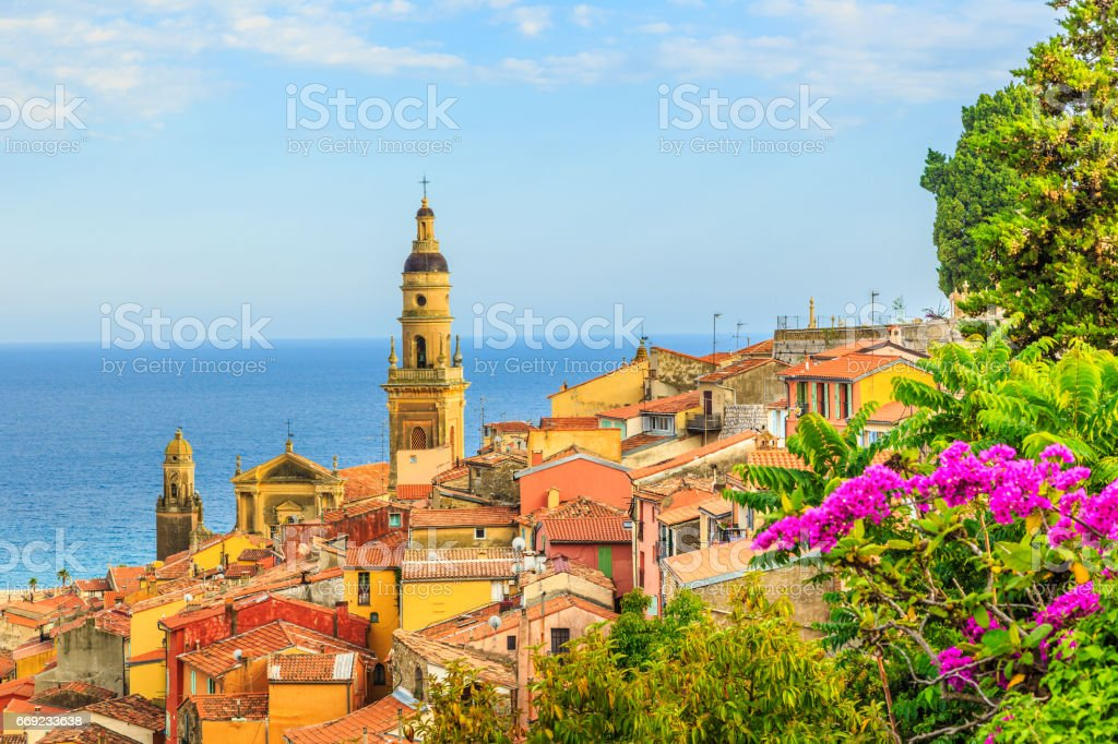 Menton view with sea and church stock photo