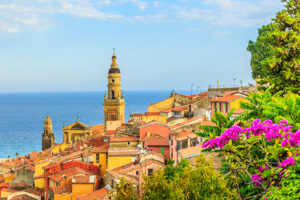 Menton view with sea and church – Foto