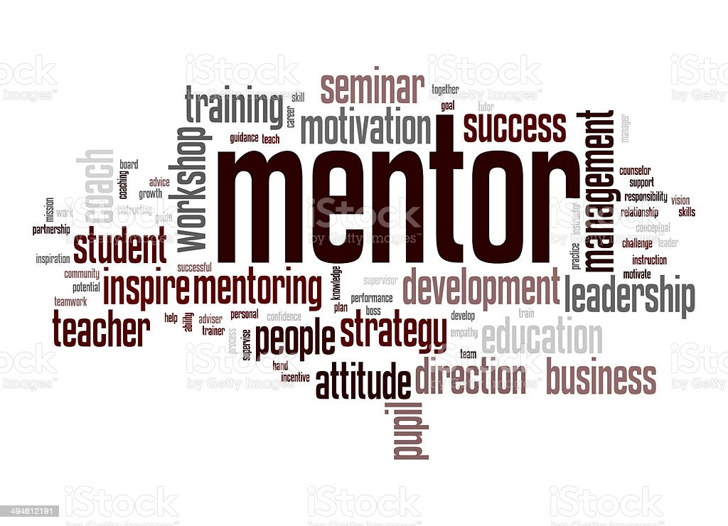 Mentor word cloud stock photo