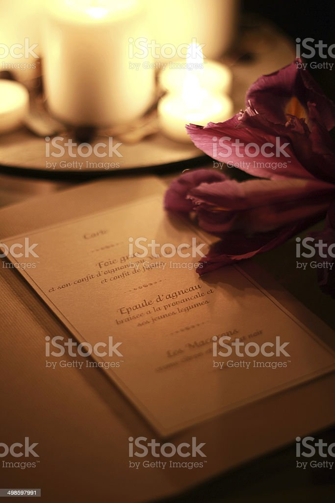 Menu in candle light stock photo