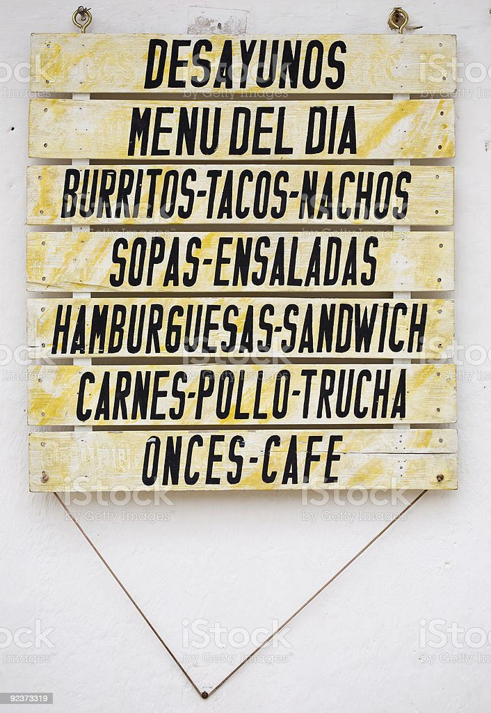 Menu In Colombia royalty-free stock photo