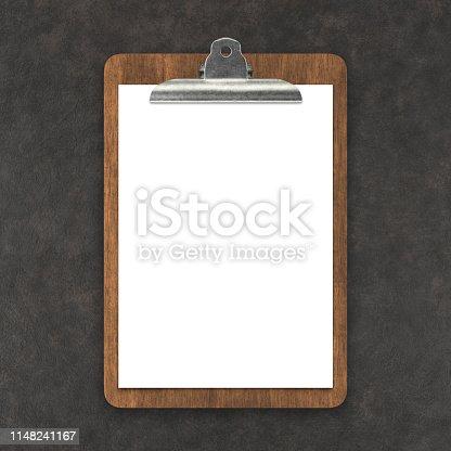 Menu on cutting board on dark background
