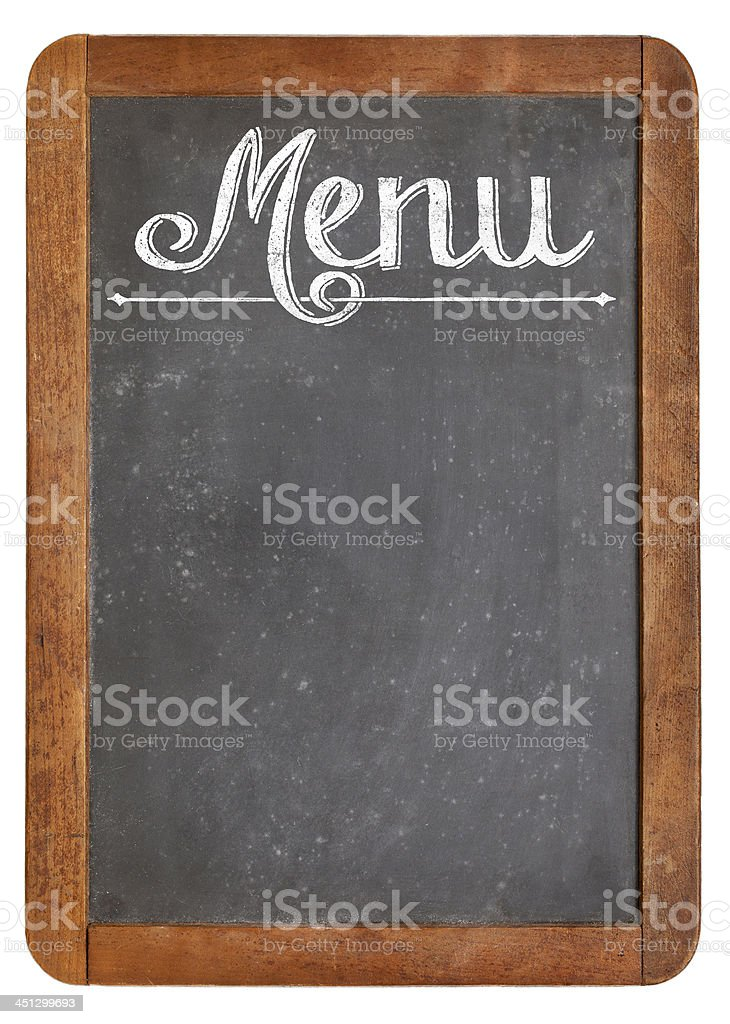 vintage menu sur Tableau noir - Photo