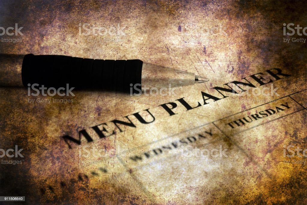 Menu planner grunge concept stock photo