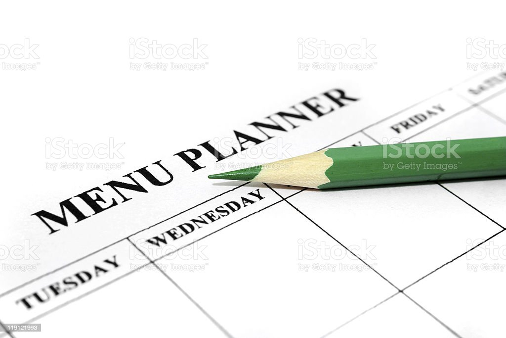 Menu planner stock photo