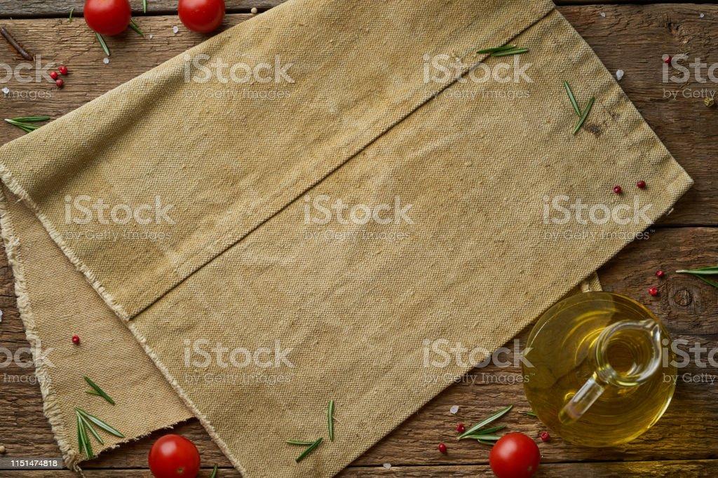 Menu, recipe, mock up, banner. Food seasoning background. Old linen...