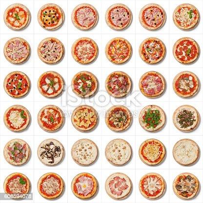 ham, mozzarella, tomato, olives, basulico, mushrooms, sausage, anchovies, Parmesan cheese, eggplant, sausage, friarelli, nacios, walnuts, gorgonzola, pears, chips, egg, onion, tuna, speak, seafood, garlic
