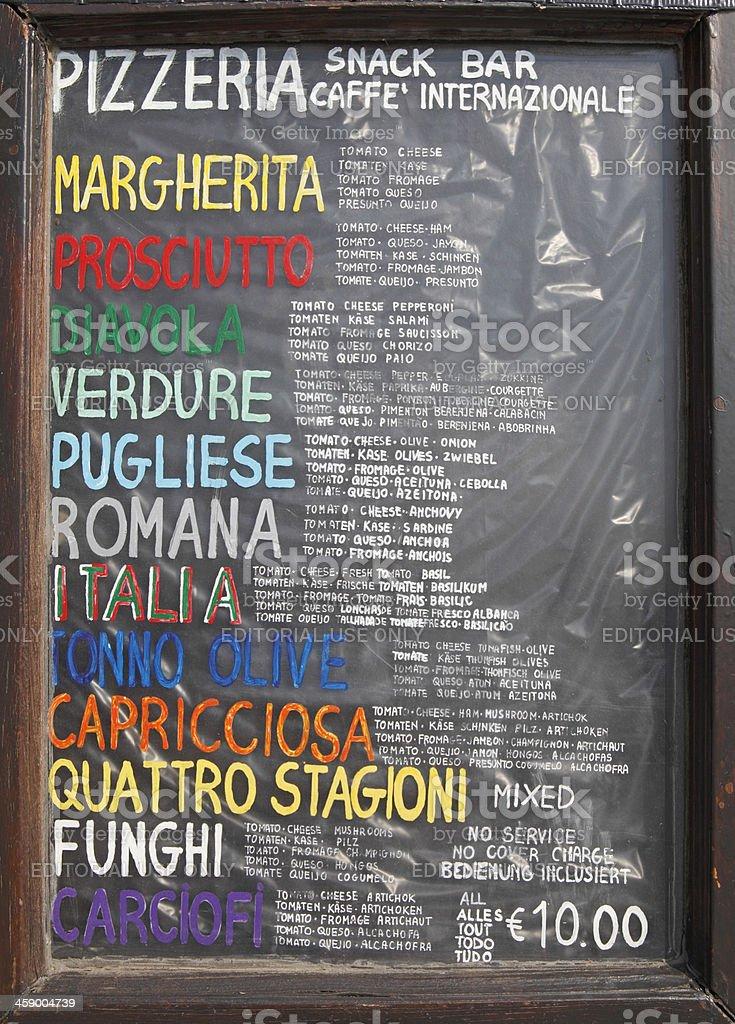 Speisekarte mit traditioneller italienischer pizza Lizenzfreies stock-foto