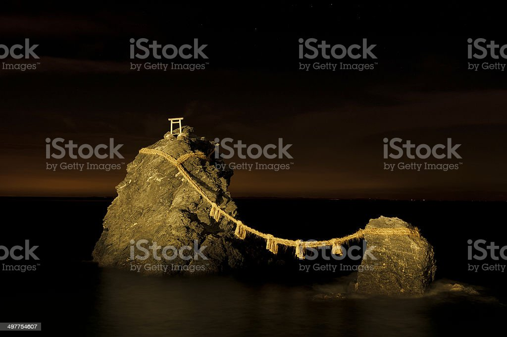 Meoto Iwa or the Loved one-and-loved one Rock stock photo