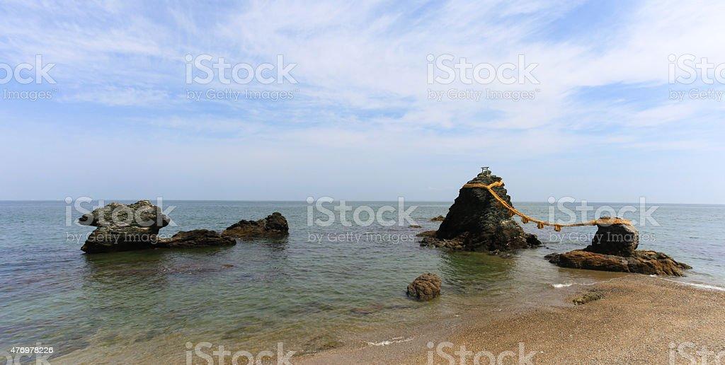 Meoto Iwa rocks of Futami stock photo