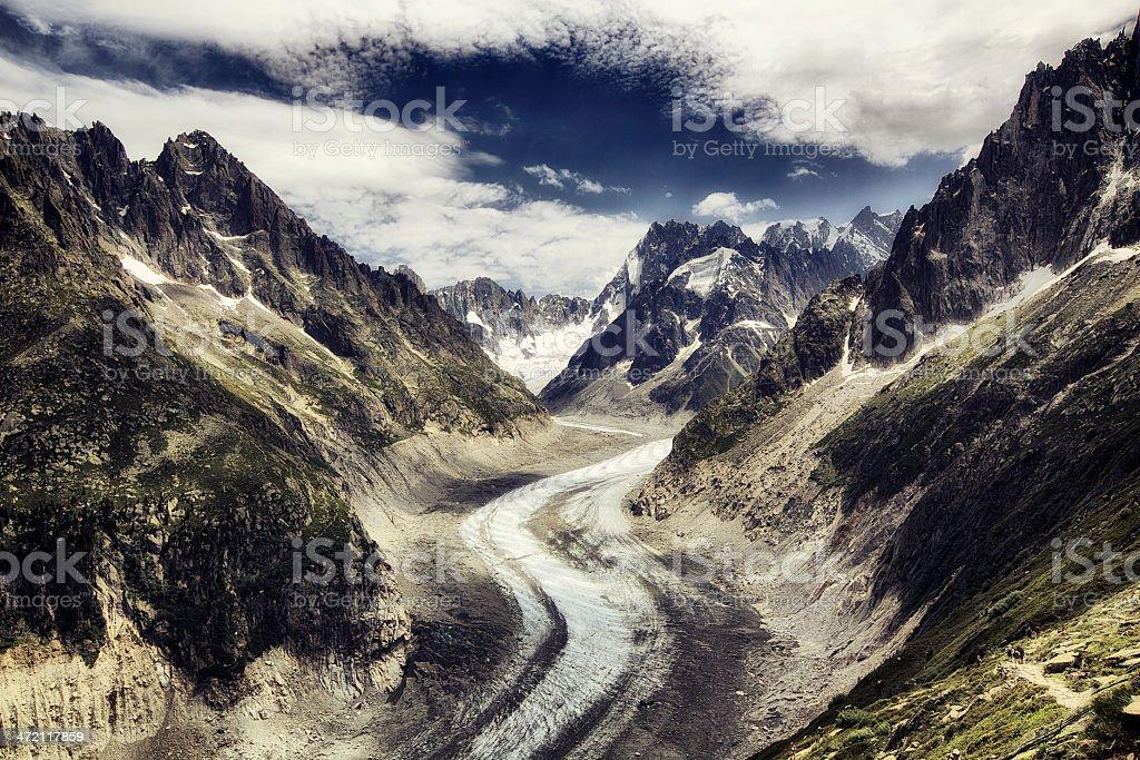 Mer de Glace Glacier in France stock photo