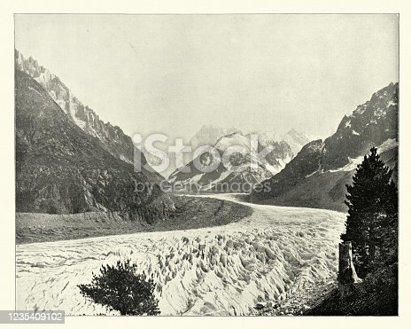 Vintage photograph of Mer de Glace (Sea of Ice) is a valley glacier located on the northern slopes of the Mont Blanc massif, in the French Alps, 19th Century