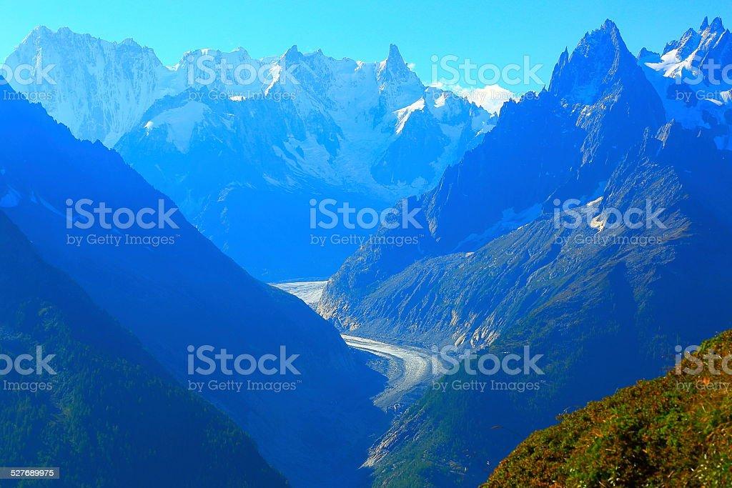 Mer de Glace, Mont Blanc, alpine landscape - Chamonix stock photo