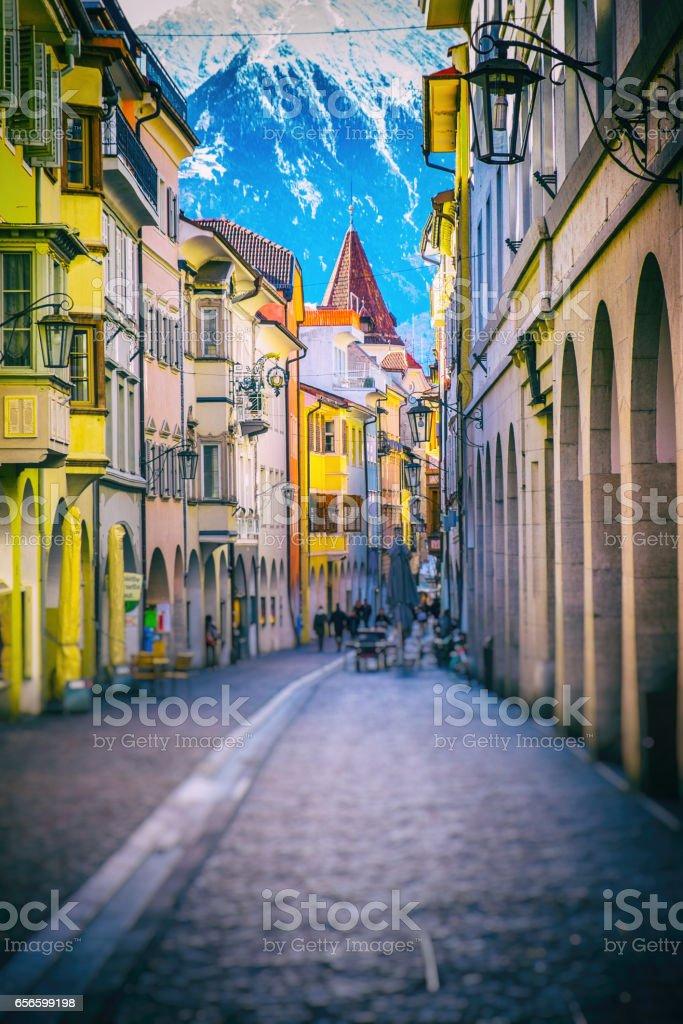 Merano Historical Center, Italy stock photo