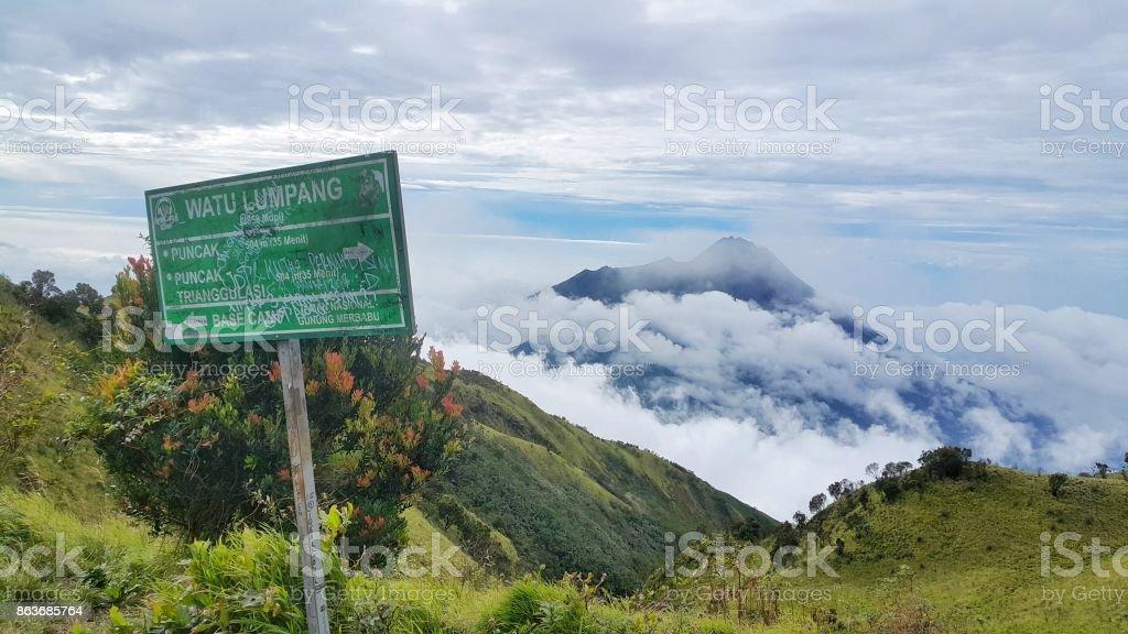 merapi dan merbabu mountain stock photo