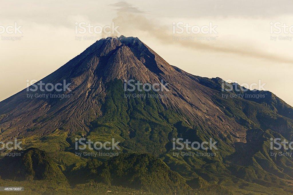Merapi volcano steaming stock photo