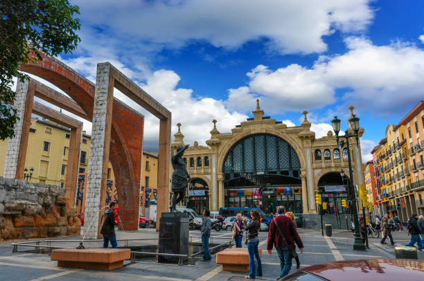 Mercado Central is the most famous market in Saragossa, Spain stock photo
