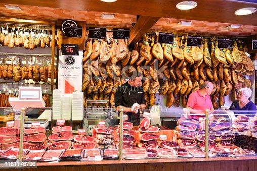 Palma de Mallorca, Mallorca, Spain - October 7, 2019: Unidentified people at the market hall of Palma de Mallorca