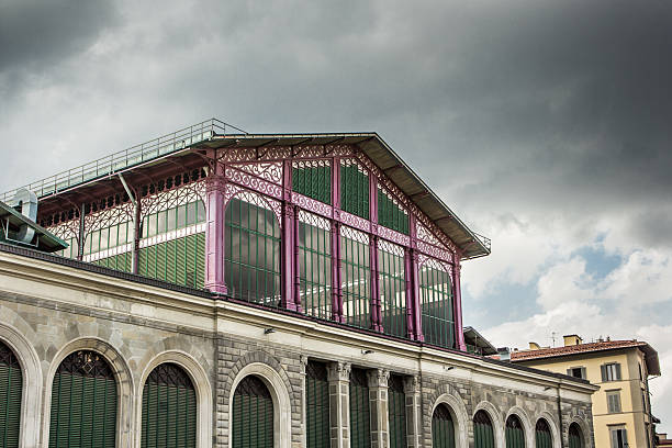 Mercato Centrale Facade of Mercato Centrale in Firenze, Italy. mercato stock pictures, royalty-free photos & images